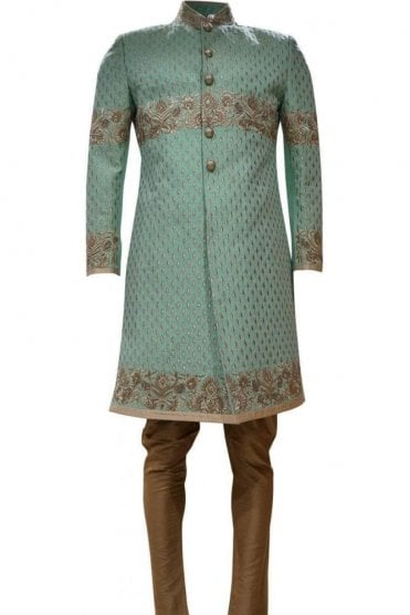 MTS19041 Sea Green and Gold Men's Sherwani Suit