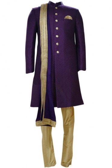 MTS19046 Purple and Gold Men's Sherwani Suit with Matching Dupatta Scarf