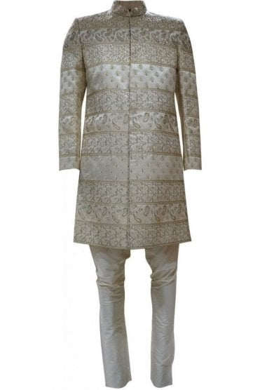 MTS19048 Ivory and Gold Men's Sherwani Suit