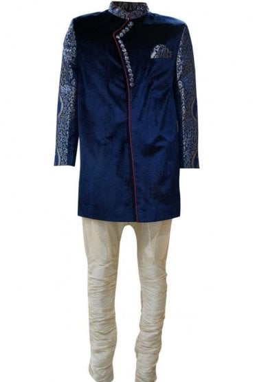 MTS19051 Navy Blue and Cream Men's Sherwani Suit