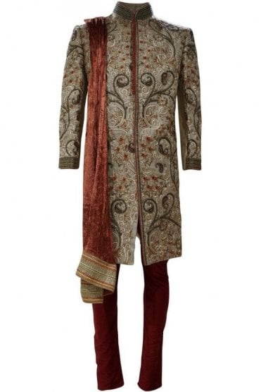 MTS19029 Gold and Maroon Men's Sherwani Suit with Crushed Velvet Dupatta Scarf