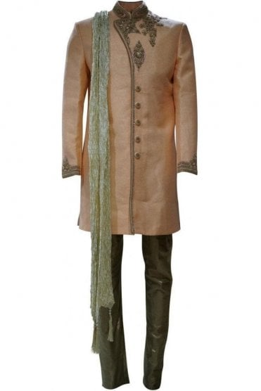 MTS19002 Peach and Gold Men's Sherwani Suit with Gold Dupatta Scarf