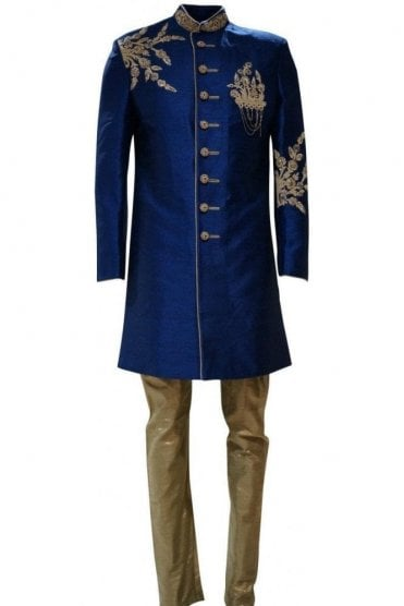 MTS19003 Blue and Gold Men's Sherwani Suit with Gold Dupatta Scarf