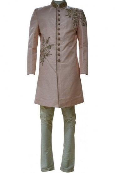 MTS19006 Peach and Gold Men's Sherwani Suit with Gold Dupatta Scarf
