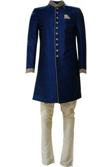MTS19007 Navy Blue and Gold Men's Sherwani Suit with Gold Dupatta Scarf