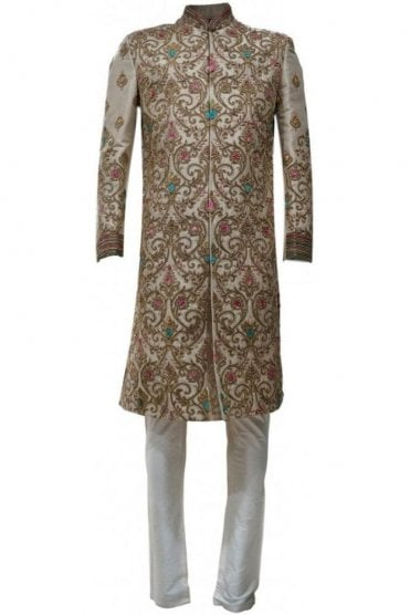 MTS19050 Gold and Pink Men's Sherwani Suit