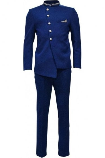 MJS19006 Royal Blue and Gold Men's Jodhpuri Suit