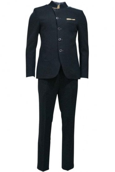 MJS19010 Black and Beige Men's Jodhpuri Suit