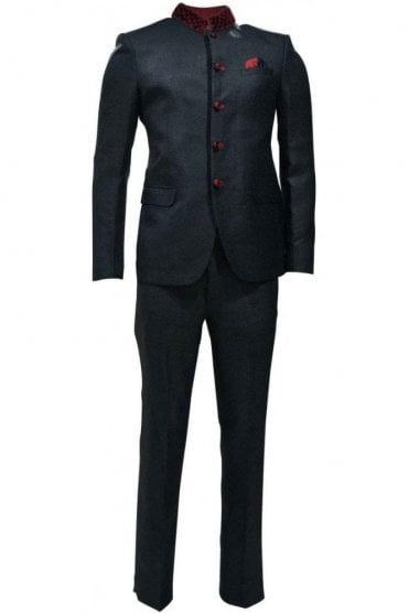 MJS19011 Black and Maroon Men's Jodhpuri Suit