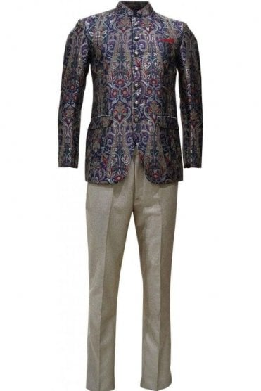 MJS19012 Purple and  Gold Men's Jodhpuri Suit