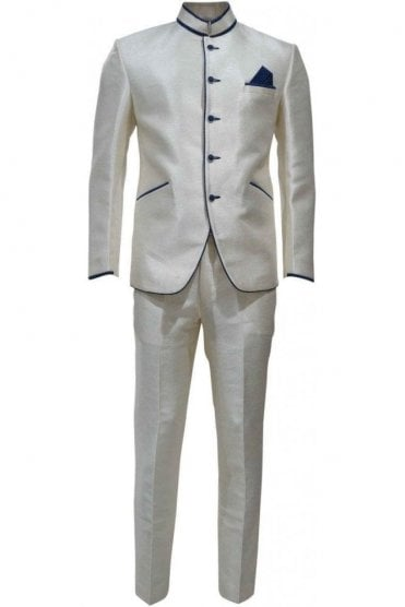 MJS19014 Cream and Navy Blue Men's Jodhpuri Suit