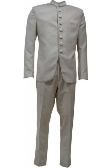 MJS19016 Beige and Pearl Men's Jodhpuri Suit