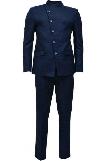 MJS19018 Navy Blue and Silver Men's Jodhpuri Suit