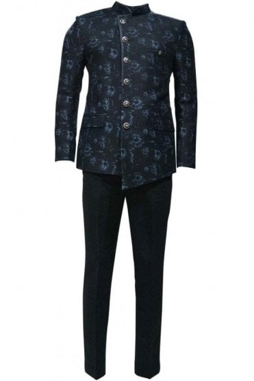 MJS19008 Black and Blue Men's Jodhpuri Suit