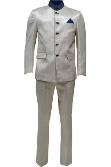 MJS19009 Cream and Blue Men's Jodhpuri Suit