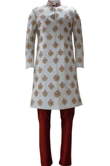 MTS19094 Gold and Red Men's Sherwani Suit