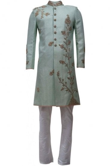 MTS19119 Green and Ivory Men's Sherwani Suit