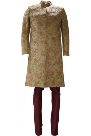 MTS19118 Gold, Multi-Coloured and Maroon Men's Sherwani Suit