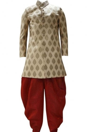MTS19111 Gold and Red Men's Sherwani Suit