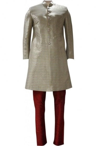 MTS19105 Gold, Red and Silver Men's Sherwani Suit