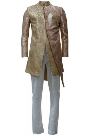 MTS19121 Gold and Ivory Men's Sherwani Suit