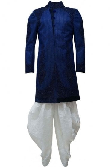 MTS19124 Blue and Ivory Men's Sherwani Suit