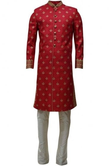 MTS19125 Pink and Cream Men's Sherwani Suit