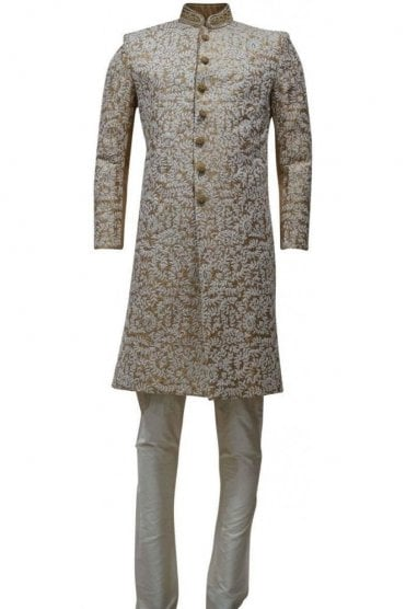 MTS19126 Gold and Ivory Men's Sherwani Suit