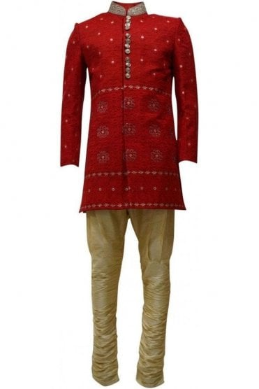MTS19133 Red and Gold Men's Sherwani Suit