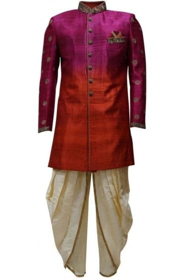 MTS19134 Pink, Red and Gold Men's Sherwani Suit