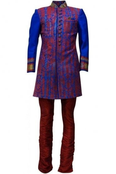 MTS19139 Blue and Red Men's Sherwani Suit