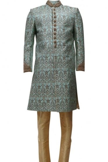 MTS19141 Blue and Gold Men's Sherwani Suit