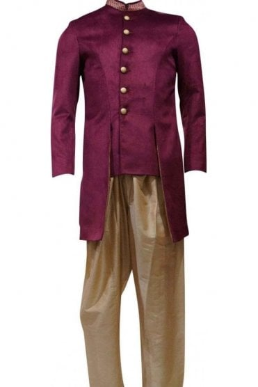 MTS19144 Purple and Gold Men's Sherwani Suit