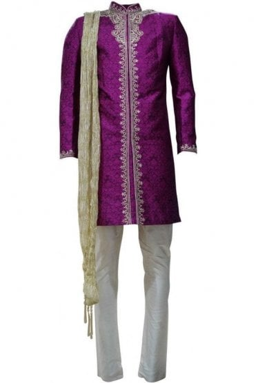 MTS19061 Purple and Gold Men's Sherwani Suit