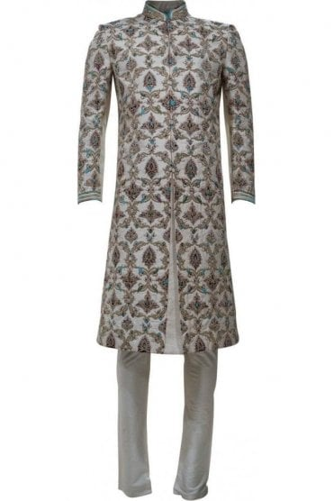 MTS19065 Ivory and Blue Men's Sherwani Suit