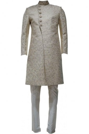 MTS19067 Ivory and Gold Men's Sherwani Suit