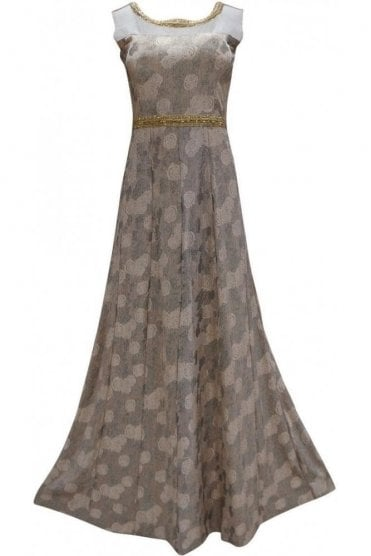 WPD19095 Peach and Grey Designer Churidar Suit Gown
