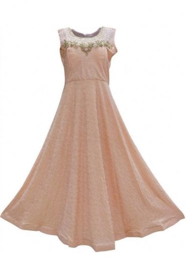 WPD19052 Peach and Gold Designer Churidar Suit Gown