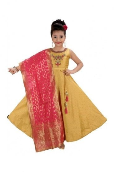 GCS19572 Pink and Gold Girl's Churidar Suit