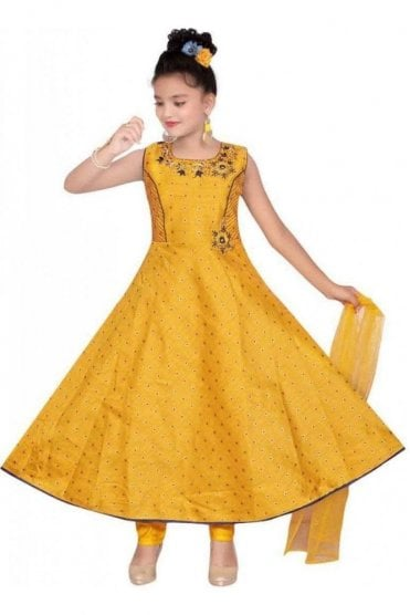 GCS19575 Yellow and Navy Blue Girl's Churidar Suit