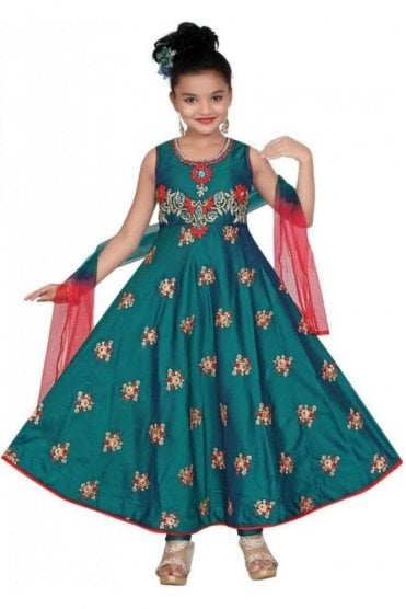 GCS19576 Jade Green and Red Girl's Churidar Suit