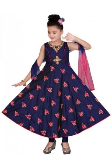 GCS19577 Navy Blue and Pink Girl's Churidar Suit