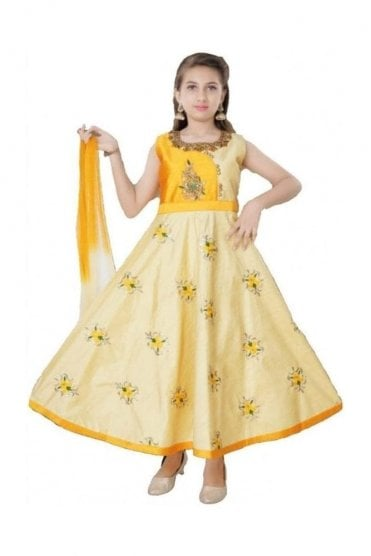 GCS19580 Cream and Yellow Girl's Churidar Suit