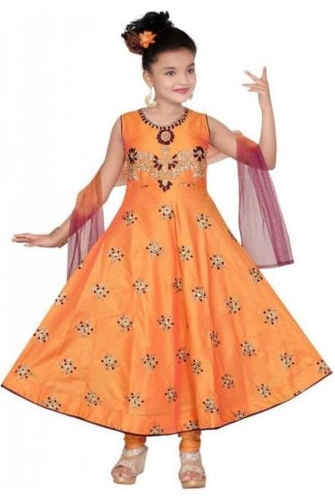 Orange and Maroon Girl's Churidar Suit