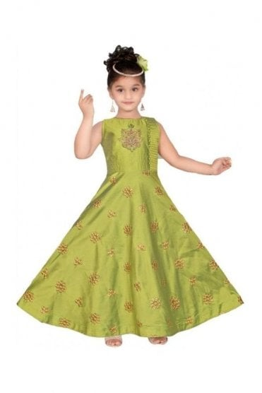 Green and Gold Girl's Churidar Suit