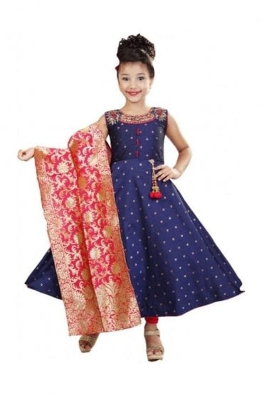 Navy Blue and Pink Girl's Churidar Suit