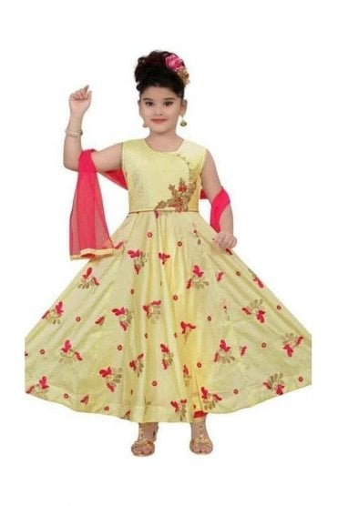 Lemon Yellow and Pink Girl's Churidar Suit