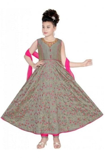 Grey and Pink Girl's Churidar Suit