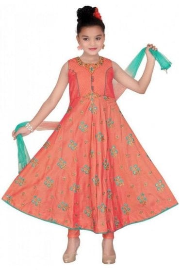 Peach and Sea Green Girl's Churidar Suit