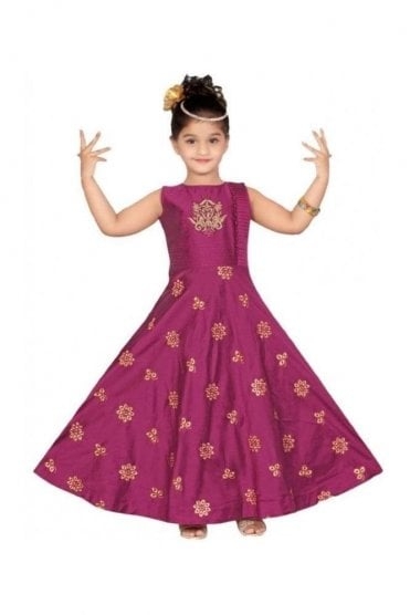Purple and Gold Girl's Churidar Suit